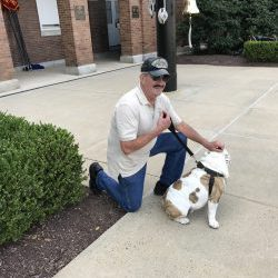 Customer with Chesty at the Marine Barracks